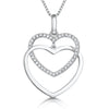Sterling Silver Double Heart Pendant Each With A Polished And Cubic Zirconia Set Heartpendants - JOOLS By Jenny Brown
