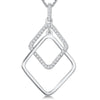 Sterling Silver Offset Double Square Pendant Silver and Cubic Zirconia Setpendants - JOOLS By Jenny Brown