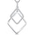 Sterling Silver Offset Double Square Pendant Silver and Cubic Zirconia Set