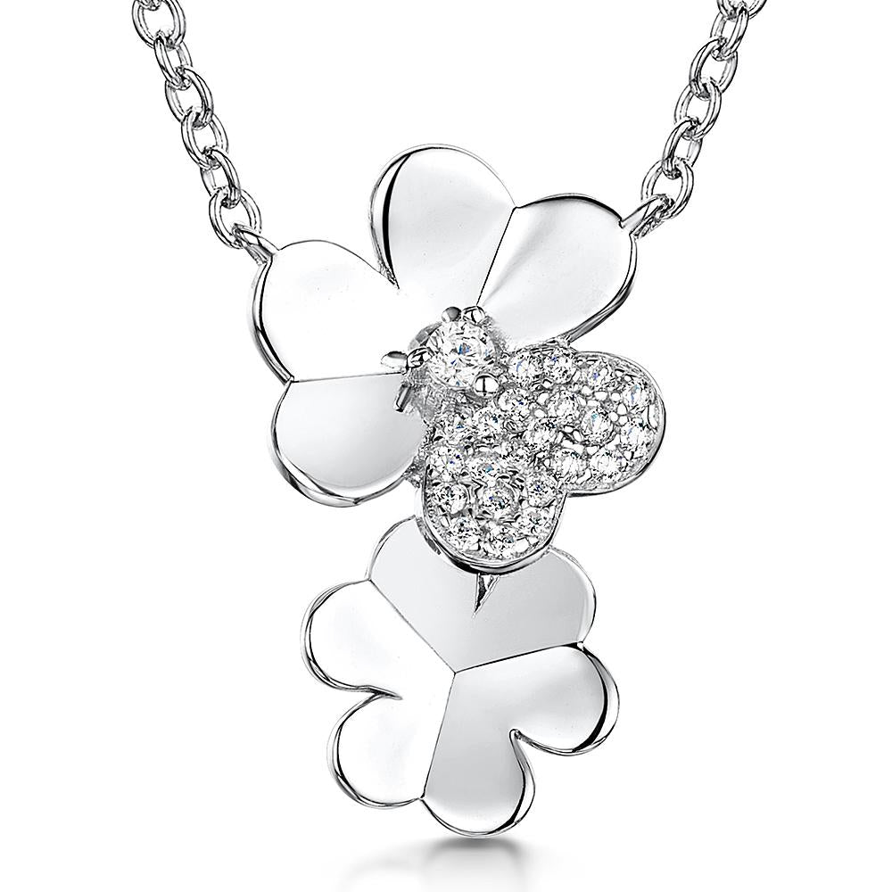Sterling  Silver Double Flower Drop Pendant  With Stone  Set Petalpendants - JOOLS By Jenny Brown