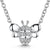 Sterling Silver Bee On A Fixed Chain Necklace Set With White Cubic Zirconia Stones