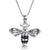 Sterling Silver Bumble Bee Necklace Set with Cubic Zirconia and  Black Enamel Stripes