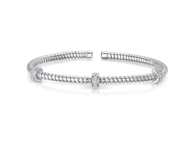 Sterling  Silver  Cuff  Stacking Bangle Set With Cubic Zirconia WheelsBangles - JOOLS By Jenny Brown