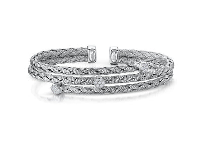 Sterling  Silver Woven Cuff  Stacking Bangle Set With Cubic Zirconia StonesBangles - JOOLS By Jenny Brown