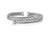 Sterling  Silver Woven Cuff  Stacking Bangle Set With Cubic Zirconia Stones- 925 Silver