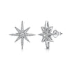 STERLING SILVER AND ZIRCONIA SMALL NORTH STAR STUD EARRINGS WITH A Single 3 MM  Stone Centre