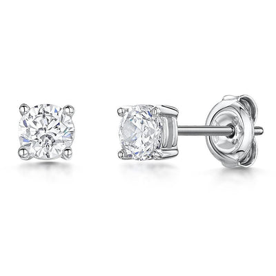 STERLING SILVER SOLITAIRE STUD EARRINGS - SET WITH A 0.5 CARAT  BRILLIANT ROUND CUBIC ZIRCONIA STONE- PLATINUM FINISHEDEarrings - JOOLS By Jenny Brown