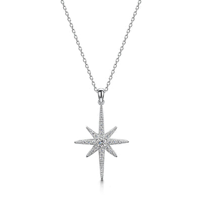 STERLING SILVER  LARGE NORTH STAR NECKLACE -SET WITH WHITE ZIRCONIAS-  PLATINUM FINISHED
