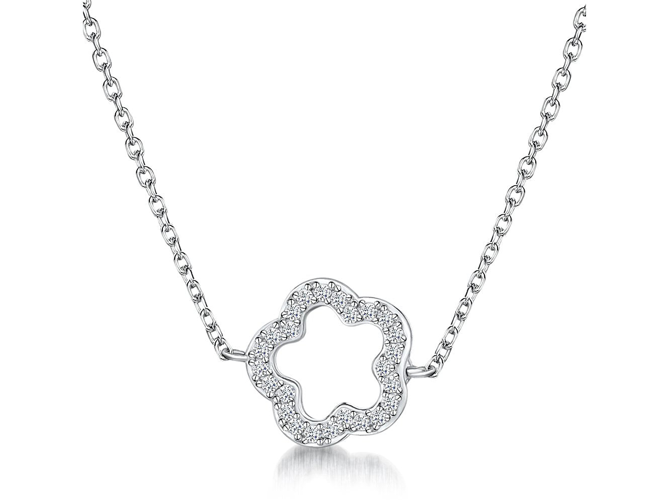 STERLING SILVER NECKLACE - FEATURING AN OPEN FLOWER CLOVER VAN CLEEF STYLE  SET WITH CUBIC ZIRCONIA STONES- PLATINUM FINISHEDNecklaces - JOOLS By Jenny Brown