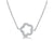 STERLING SILVER NECKLACE - FEATURING AN OPEN FLOWER SET WITH CUBIC ZIRCONIA STONES- PLATINUM FINISHED