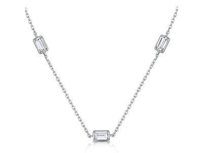STERLING SILVER NECKLACE- SET WITH BRILLIANT ROUND AND PRINCESS CUT CUBIC ZIRCONIA STONES- PLATINUM FINISHEDNecklaces - JOOLS By Jenny Brown
