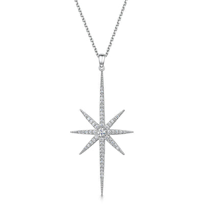 STERLING SILVER  LARGE NORTH STAR NECKLACE -SET WITH WHITE ZIRCONIAS-  PLATINUM FINISHEDNecklaces - JOOLS By Jenny Brown