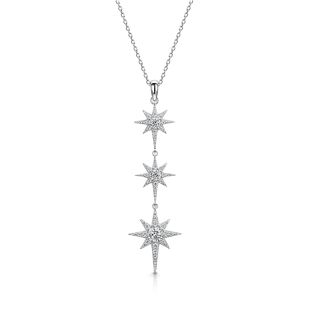 STERLING SILVER THREE STAR DROP  NORTH STAR NECKLACE -SET WITH WHITE ZIRCONIAS-  PLATINUM FINISHED