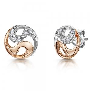 Sterling Silver And Rose Gold Earrings - With A Cubic Zirconia Stone Set SwirlEarrings - JOOLS By Jenny Brown