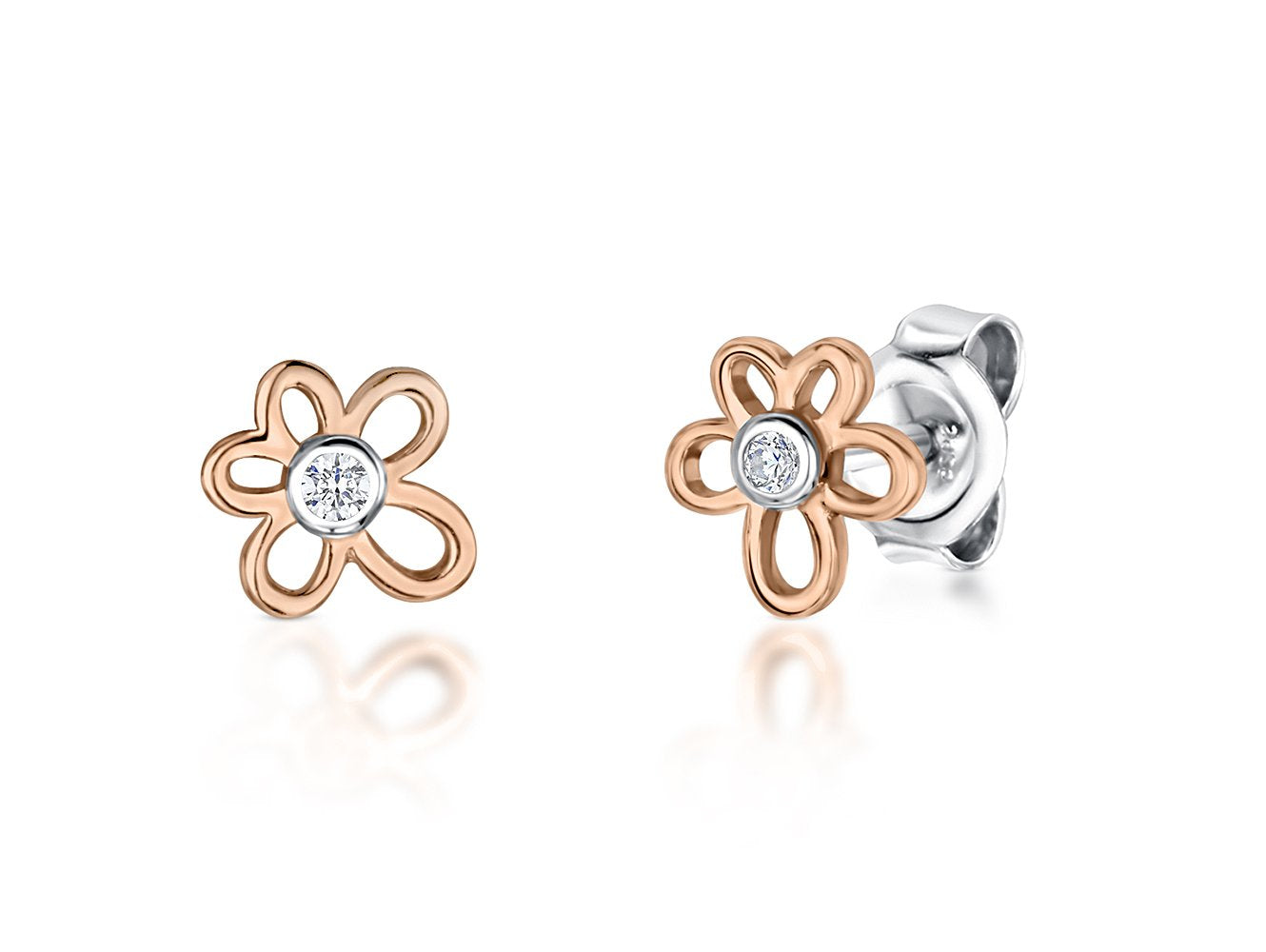 Sterling Silver And Rose Gold  Flower Earrings - JOOLS By Jenny Brown
