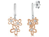 Sterling Silver And Rose Gold Flower Plated Drop EarringEarrings - JOOLS By Jenny Brown