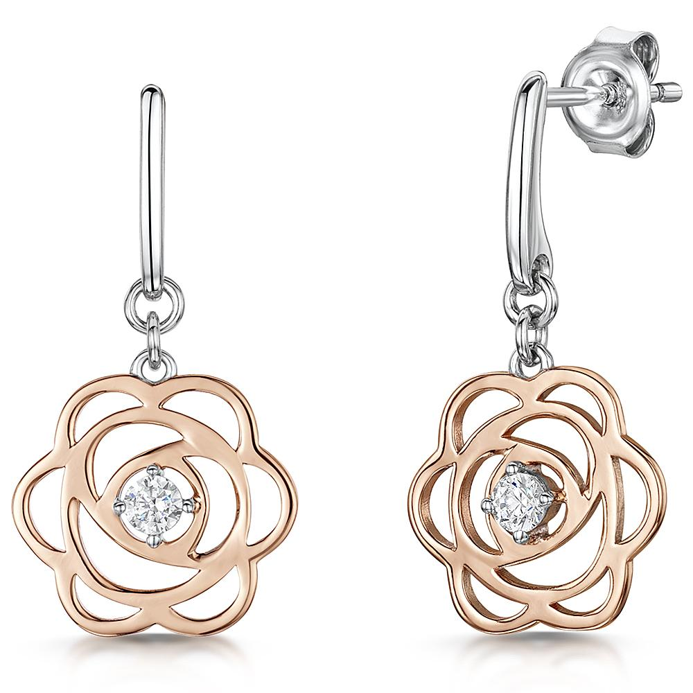 STERLING SILVER AND  ROSE GOLD  ROSE PETAL DROP EARRINGSEarrings - JOOLS By Jenny Brown