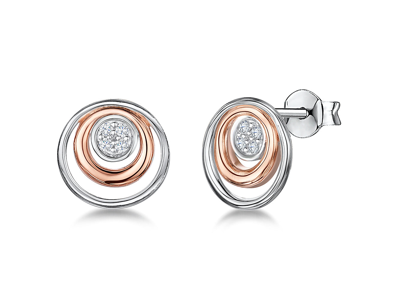 Sterling Silver And Rose Gold Double Circle Earrings - JOOLS By Jenny Brown
