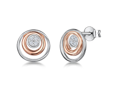 Sterling Silver And Rose Gold Double Circle EarringsEarrings - JOOLS By Jenny Brown