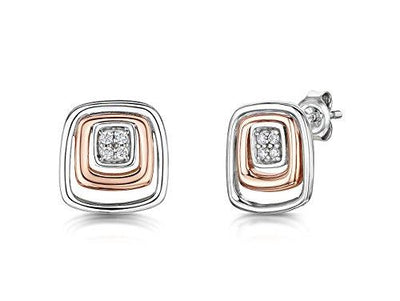 Sterling Silver And Rose Gold Square Stud Earring- With An Inner CZ Pave Set SquareEarrings - JOOLS By Jenny Brown