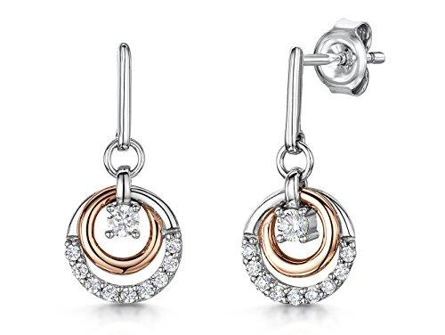 Sterling Silver and Rose Gold Circle Drop EarringsEarrings - JOOLS By Jenny Brown