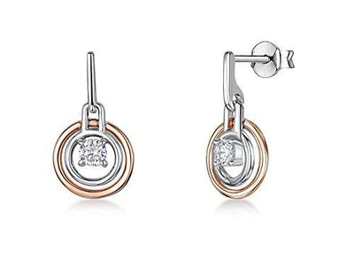 Sterling Silver And Rose Gold Earrings - Featuring Circles Of Silver And Rose Gold With A Suspended CZ StoneEarrings - JOOLS By Jenny Brown
