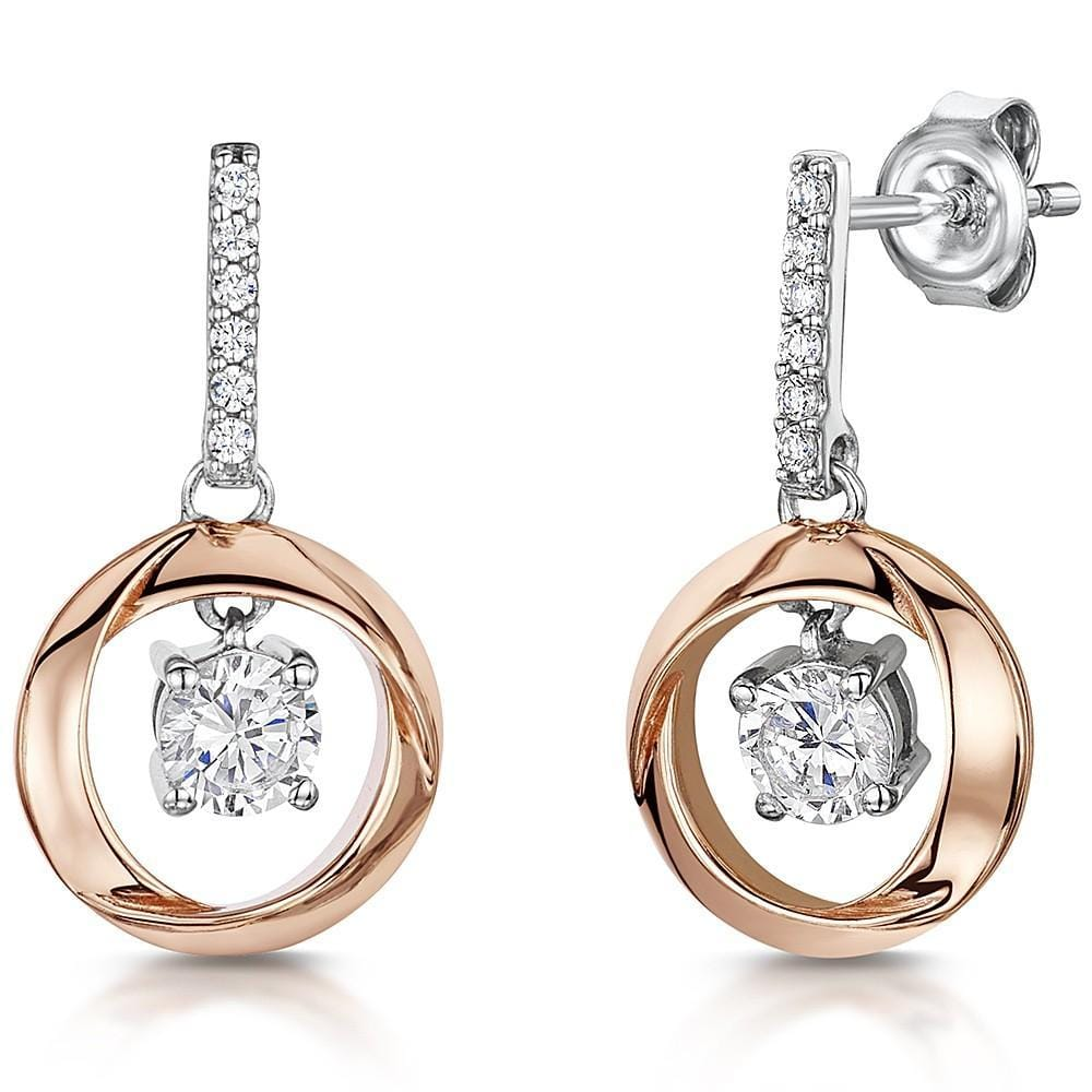 Sterling Silver And Rose Gold Drop Earrings Set With A Cubic Zirconia Single Stone Centre - JOOLS By Jenny Brown