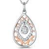 Sterling Silver And  Rose Gold Teardrop Pendant Set With A Single Cubic Zirconia Centre and Marquise SurroundPendants - JOOLS By Jenny Brown