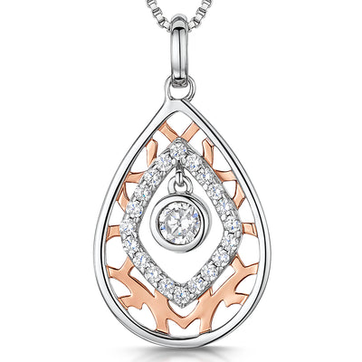 Sterling Silver And  Rose Gold Teardrop Pendant -Pendants - JOOLS By Jenny Brown