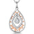 Sterling Silver And  Rose Gold Teardrop Pendant Set With A Single Cubic Zirconia Centre and Marquise Surround