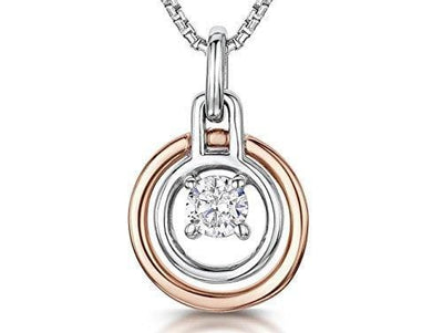Sterling Silver & Rose Gold Circle Drop  Pendant -Double Circle With A Suspended Cubic Zirconia StonePendants - JOOLS By Jenny Brown
