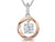 Sterling Silver and  Rose Gold Pendant Set With A Suspended Zirconia  Stone
