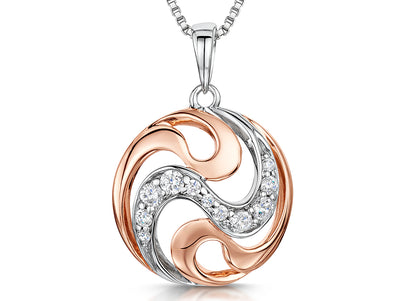 Sterling Silver and Rose Gold Circle PendantPendants - JOOLS By Jenny Brown