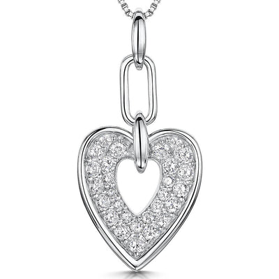 Sterling Silver Heart Pendant With Pave Cubic Zirconias In A Silver Surroundpendants - JOOLS By Jenny Brown