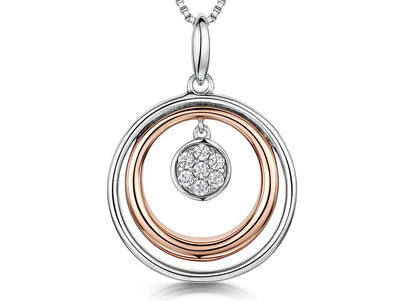 Sterling Silver and Rose Gold Circle PendantEarrings - JOOLS By Jenny Brown