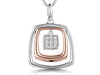 Sterling Silver & Rose Gold  Square Pendant With A Cubic Zirconia CentrePendants - JOOLS By Jenny Brown