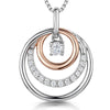 Sterling Silver & Rose Gold Circle Drop  Pendant -With A Cubic Zirconia Stone CirclePendants - JOOLS By Jenny Brown