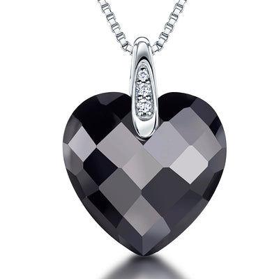 Sterling Silver Cubic Zirconia Faceted Heart Necklace Set With A White Zirconia Studded Bale