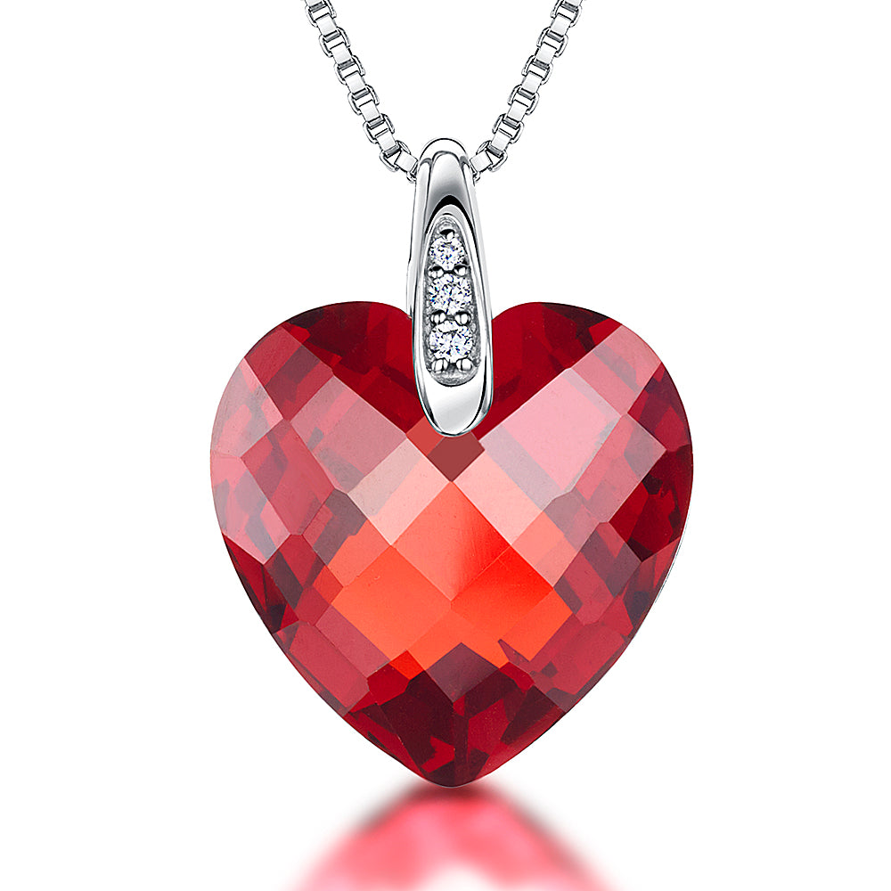 Sterling Silver Cubic Zirconia Faceted Heart Necklace Set With A White Zirconia Studded Bale - JOOLS By Jenny Brown