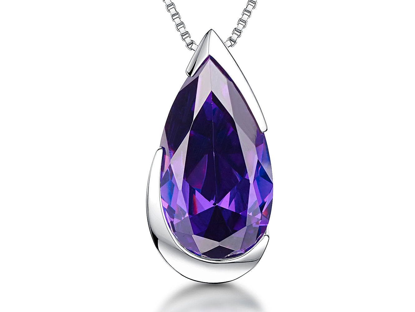 Sterling Silver & Amethyst Cubic Zirconia Faceted Heart - JOOLS By Jenny Brown