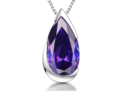 Sterling Silver & Amethyst Cubic Zirconia Faceted HeartPendants - JOOLS By Jenny Brown