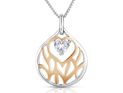 Sterling Silver & Rose Gold Pendant  With A Suspended Heart Cubic Zirconia Heart InsidePendants - JOOLS By Jenny Brown