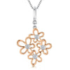 Sterling Silver Rose Gold Plated Multi Flower Pendant Set With Cubic Zirconia Centrespendants - JOOLS By Jenny Brown