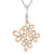 Sterling Silver Rose Gold Plated Multi Flower Pendant Set With Cubic Zirconia Centres