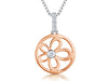 Sterling Silver and Rose Gold Flower Circle NecklacePendants - JOOLS By Jenny Brown