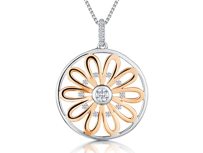 Sterling Silver and Rose Gold Sunflower Circle PendantPendants - JOOLS By Jenny Brown
