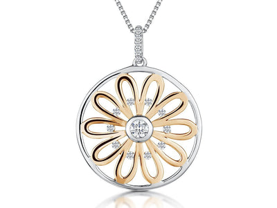 Sterling Silver And Rose Gold Sunflower Circle Pendant With A Cubic Zirconia Stone CentrePendants - JOOLS By Jenny Brown