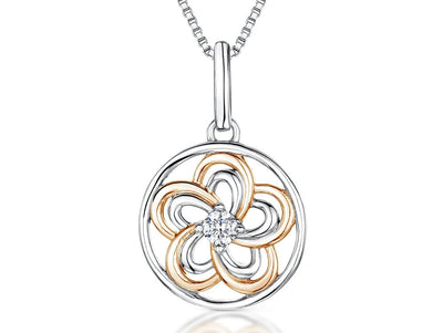 Sterling Silver & Rose Gold Flower Circle PendantPendants - JOOLS By Jenny Brown
