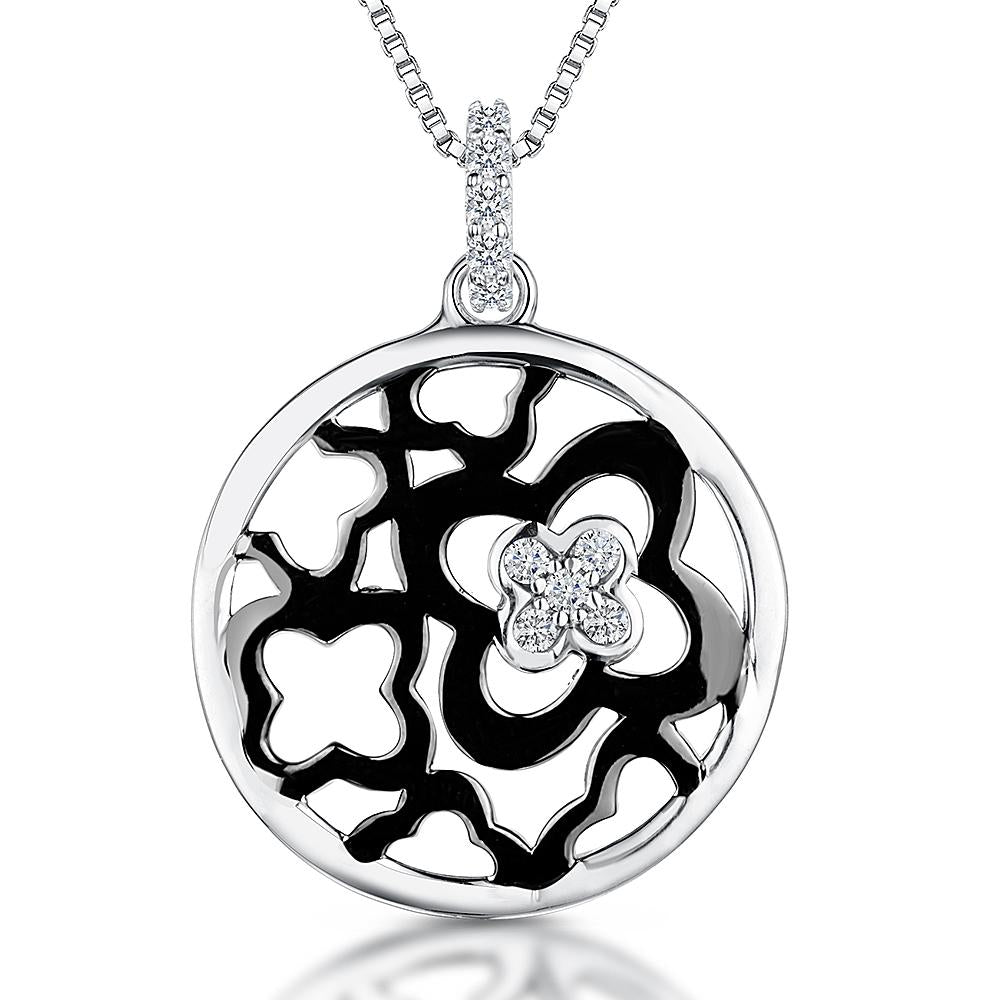 Sterling Silver Flower Pendant With A Flower Centre Ruthenium Plated With A Cubic Zirconia Centre Stonependants - JOOLS By Jenny Brown