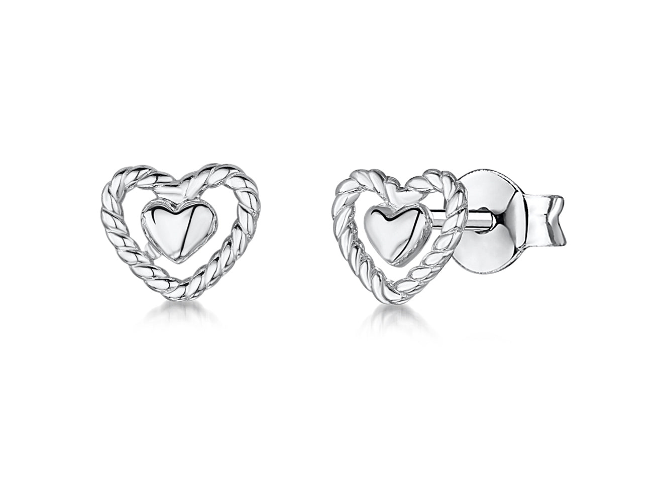 Sterling Silver Plain Open Heart Stud Earrings With A Woven Heart Surround Finish - JOOLS By Jenny Brown